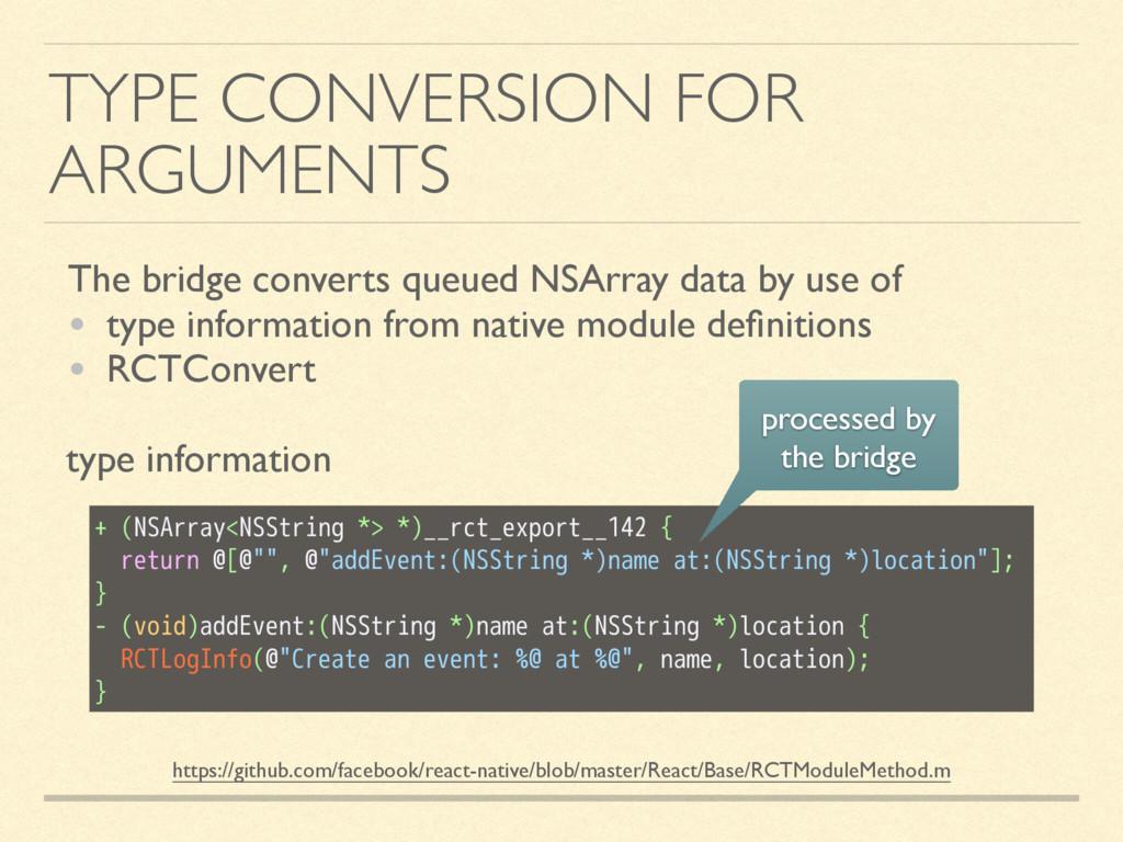 TYPE CONVERSION FOR ARGUMENTS The bridge conver...