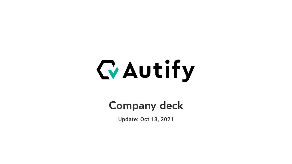 Company deck update: Sept 10, 2020