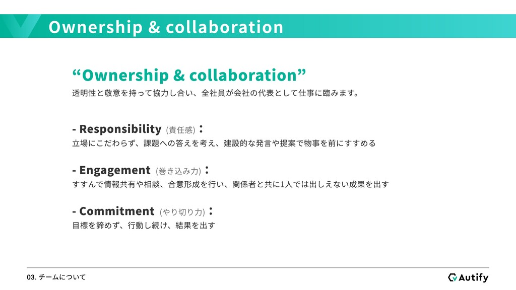"""Ownership & collaboration 03. チームについて """"Ownershi..."""