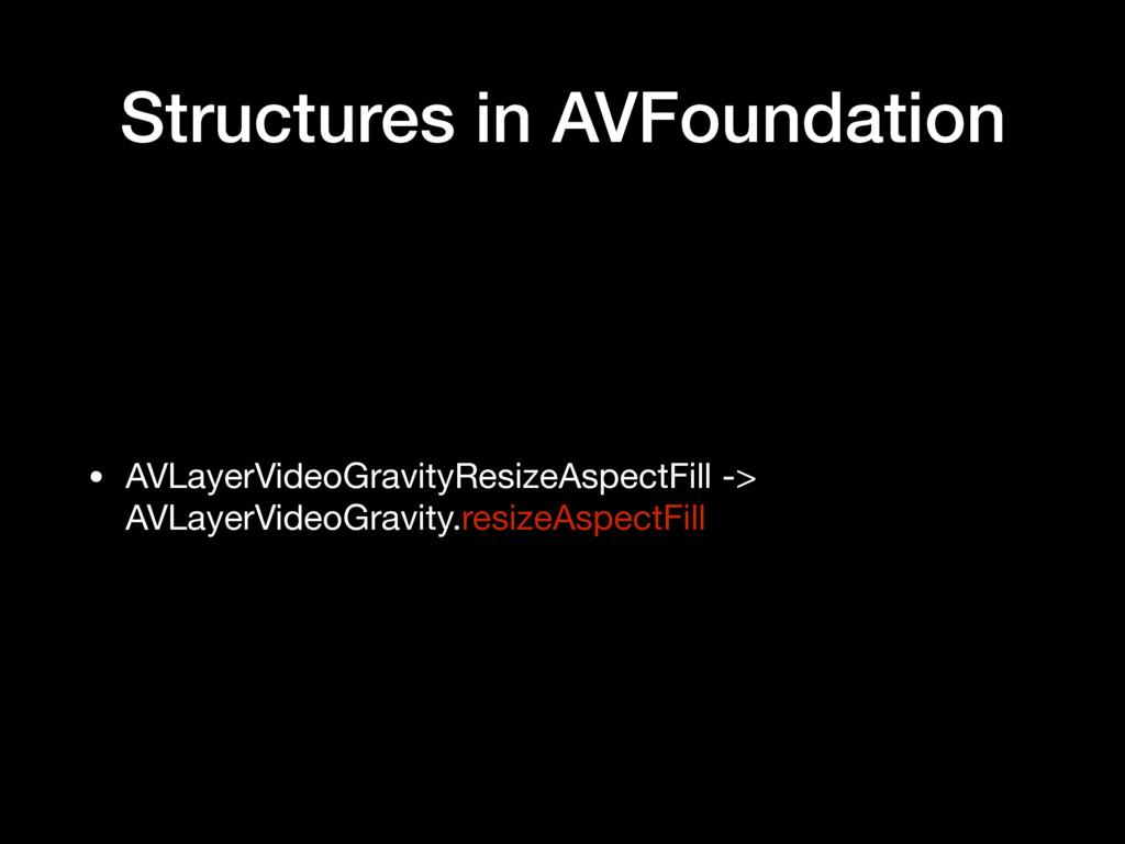 Structures in AVFoundation • AVLayerVideoGravit...