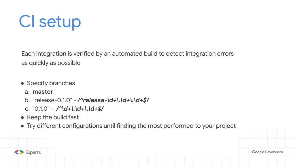 CI setup Tools to d Each integration is verifie...
