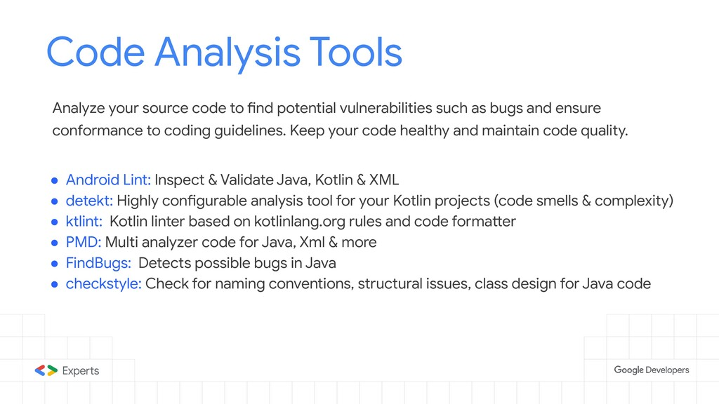 Code Analysis Tools Tools to d Analyze your sou...