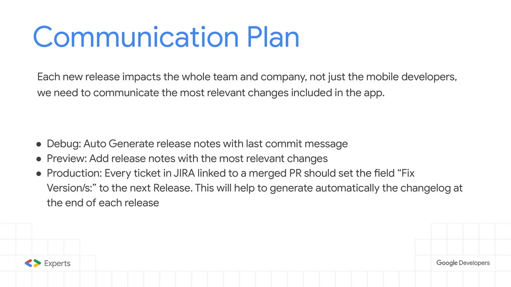 Communication Plan Tools to d Each new release ...