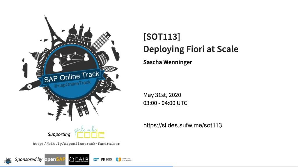 Public Fiori at Scale Sascha Wenninger SAP Onli...