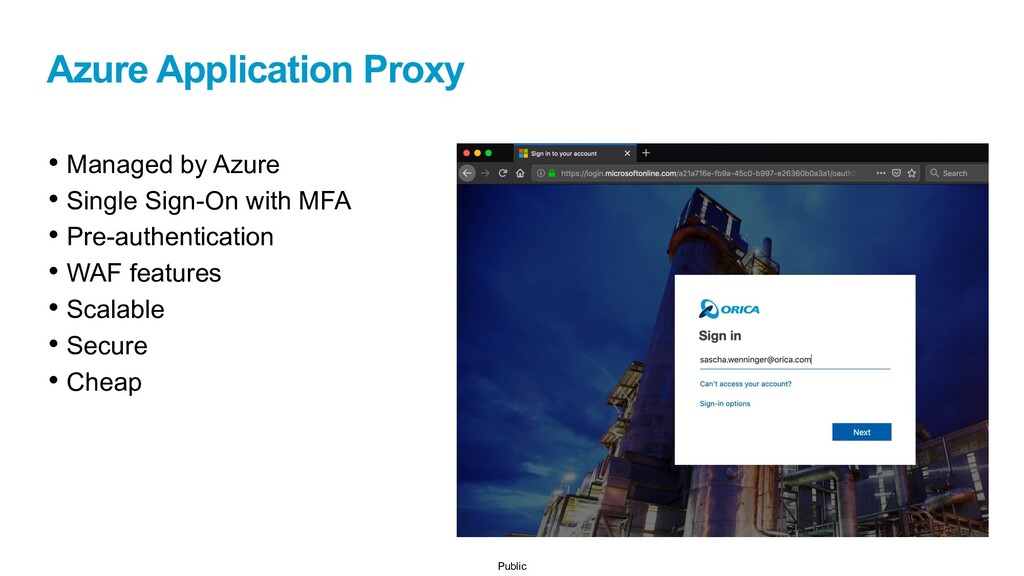 Public Azure Application Proxy • Managed by Azu...