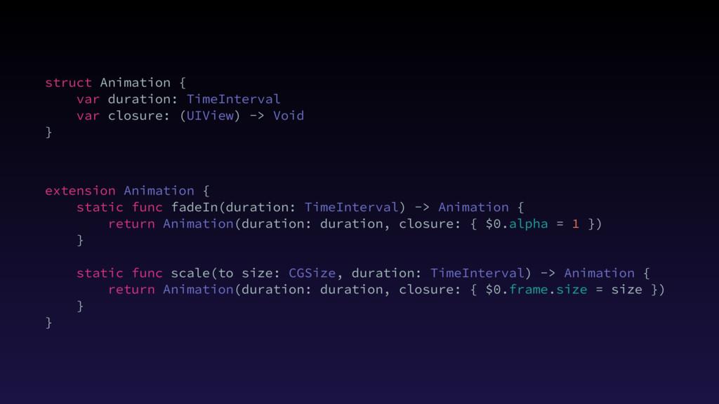 struct Animation { var duration: TimeInterval v...