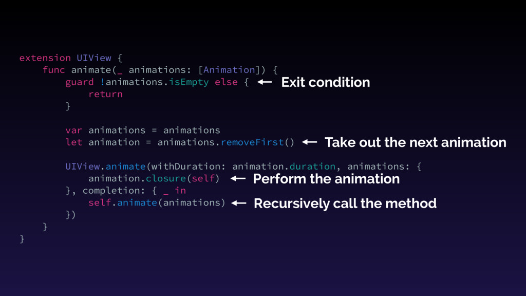 extension UIView { func animate(_ animations: [...