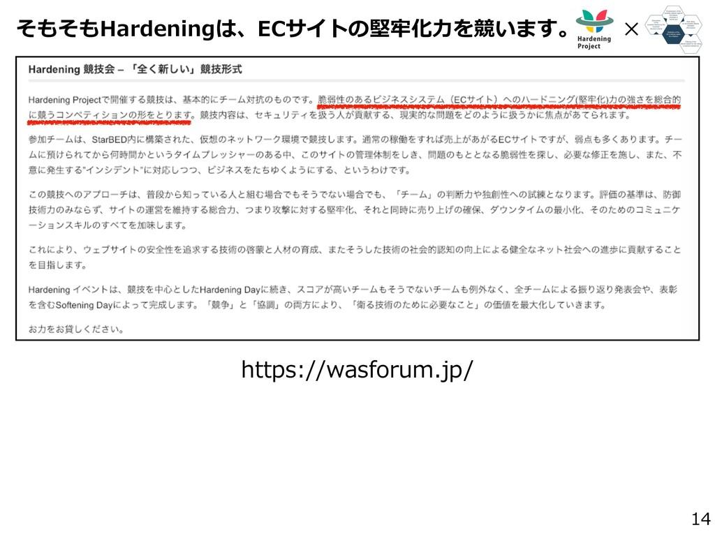 そもそもHardeningは、ECサイトの堅牢化⼒を競います。 14 https://wasf...