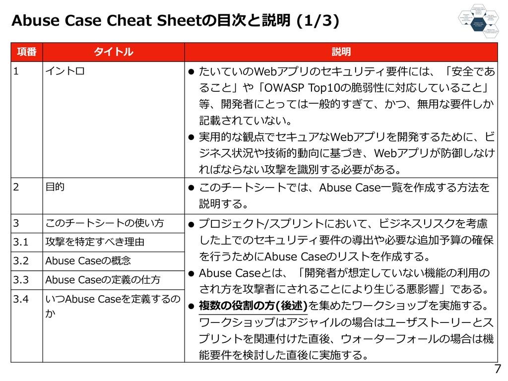 Abuse Case Cheat Sheetの⽬次と説明 (1/3) 7 項番 タイトル 説明...