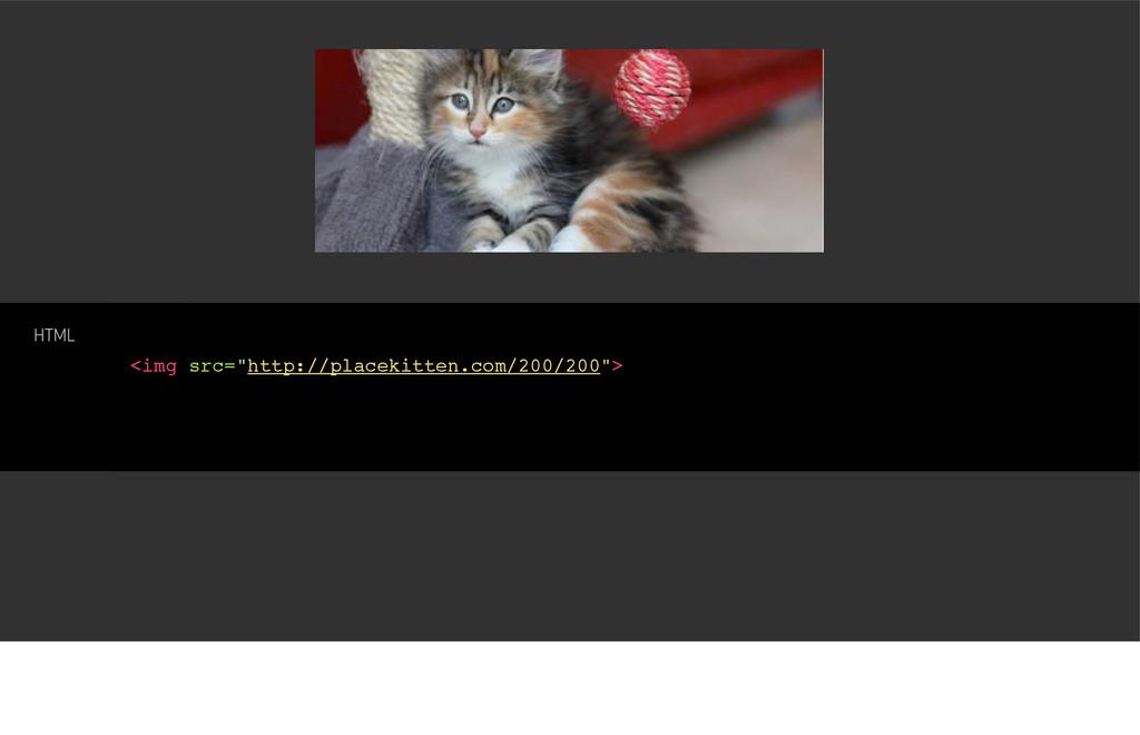 """<img src=""""http://placekitten.com/200/200""""> HTML"""