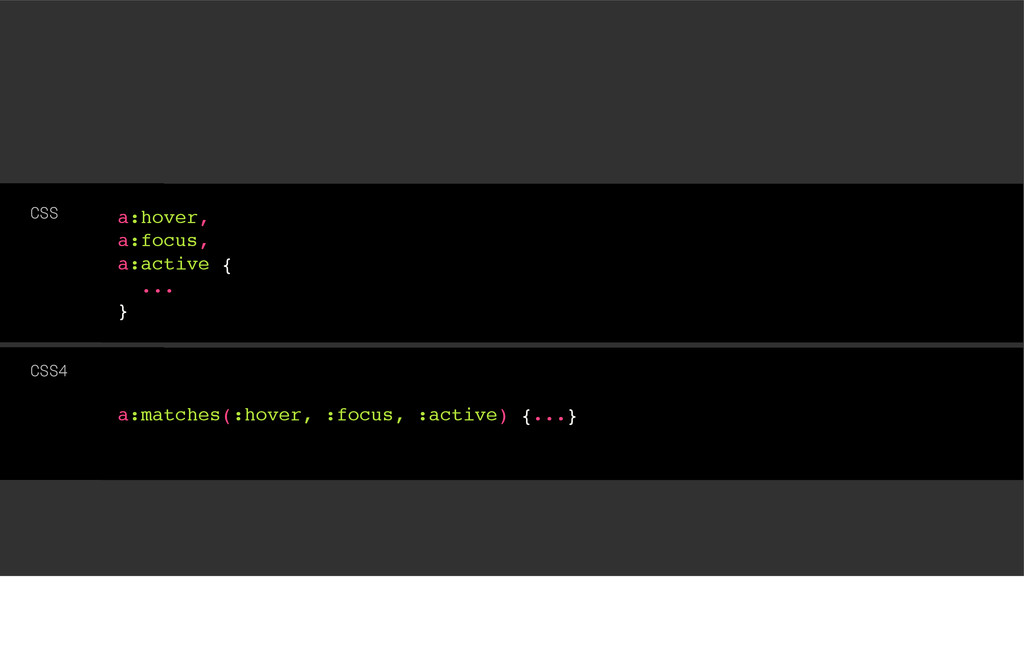a:matches(:hover, :focus, :active) {...} CSS4 a...