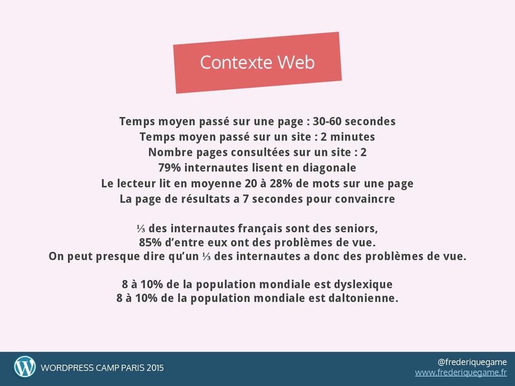 Temps moyen passé sur une page : 30-60 secondes...
