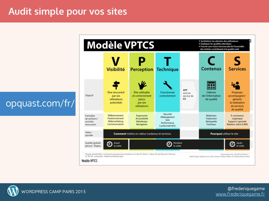 Audit simple pour vos sites WORDPRESS CAMP PARI...