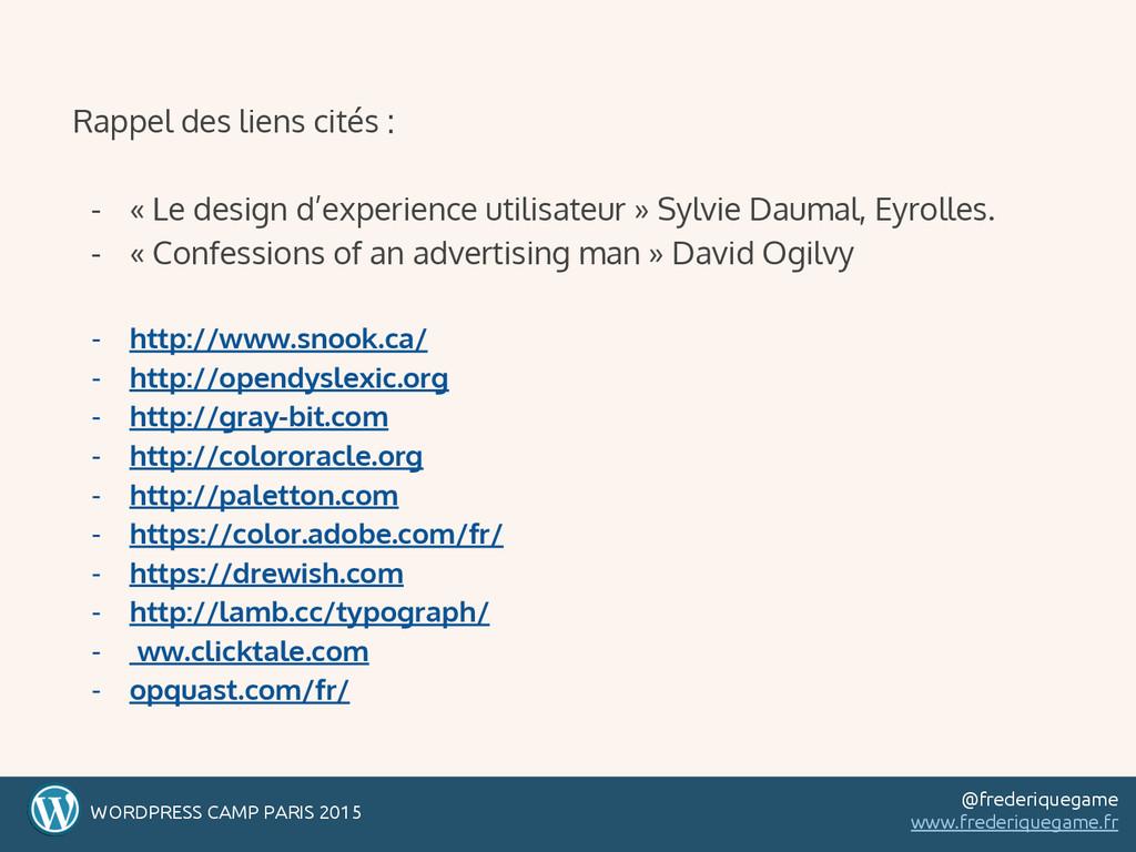 Rappel des liens cités : - « Le design d'experi...