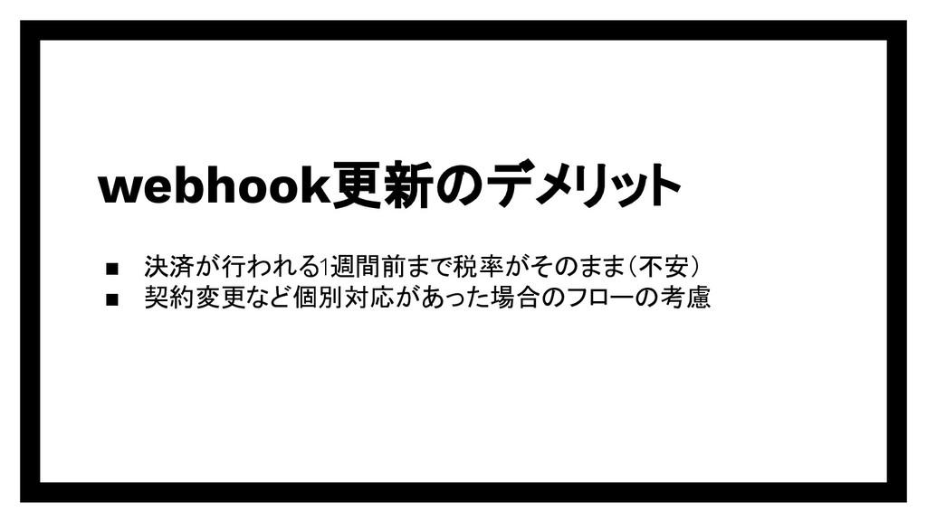 webhook更新のデメリット ▪ 決済が行われる1週間前まで税率がそのまま(不安) ▪ 契約...