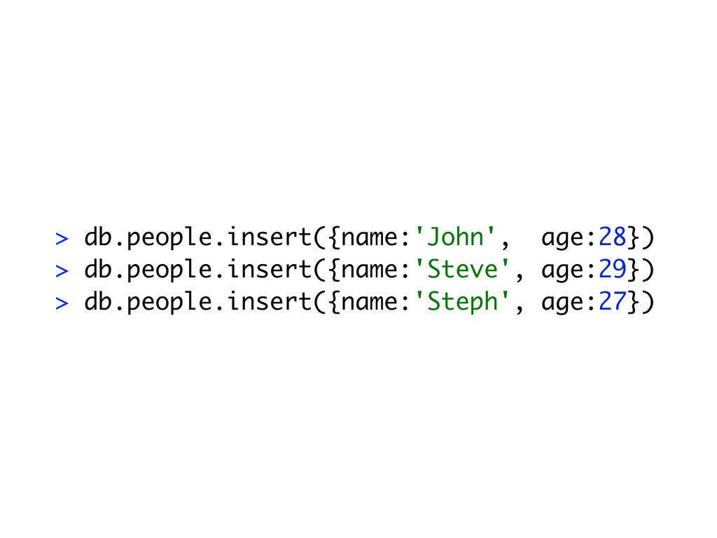 > db.people.insert({name:'John', age:28}) > db....