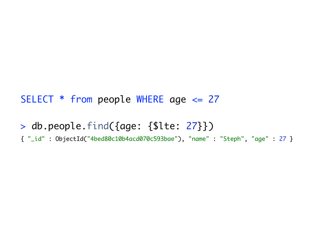 SELECT * from people WHERE age <= 27 > db.peopl...