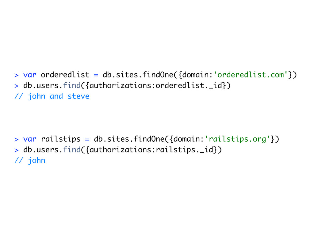 > var orderedlist = db.sites.findOne({domain:'o...