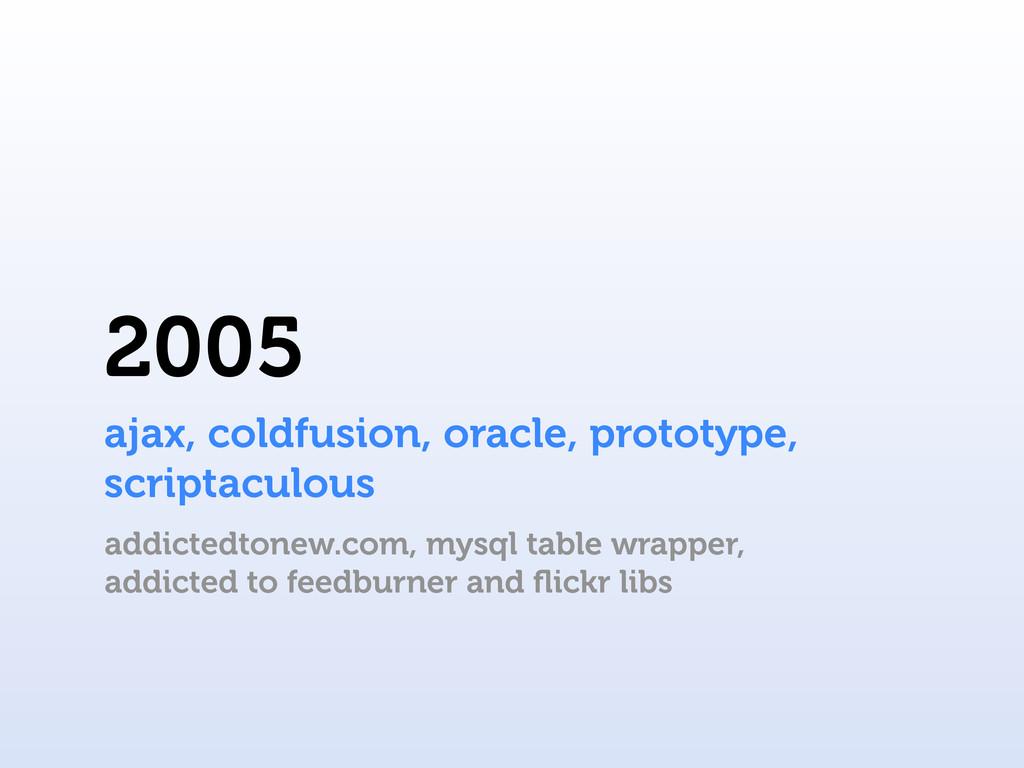 2005 ajax, coldfusion, oracle, prototype, scrip...