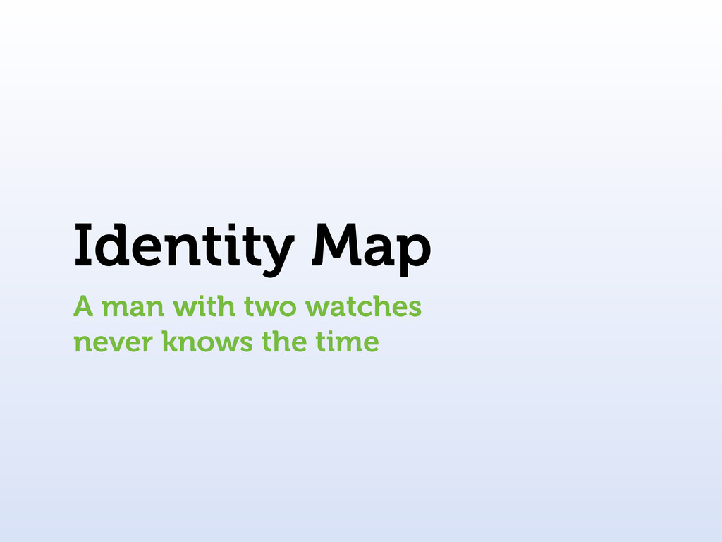 Identity Map A man with two watches never knows...