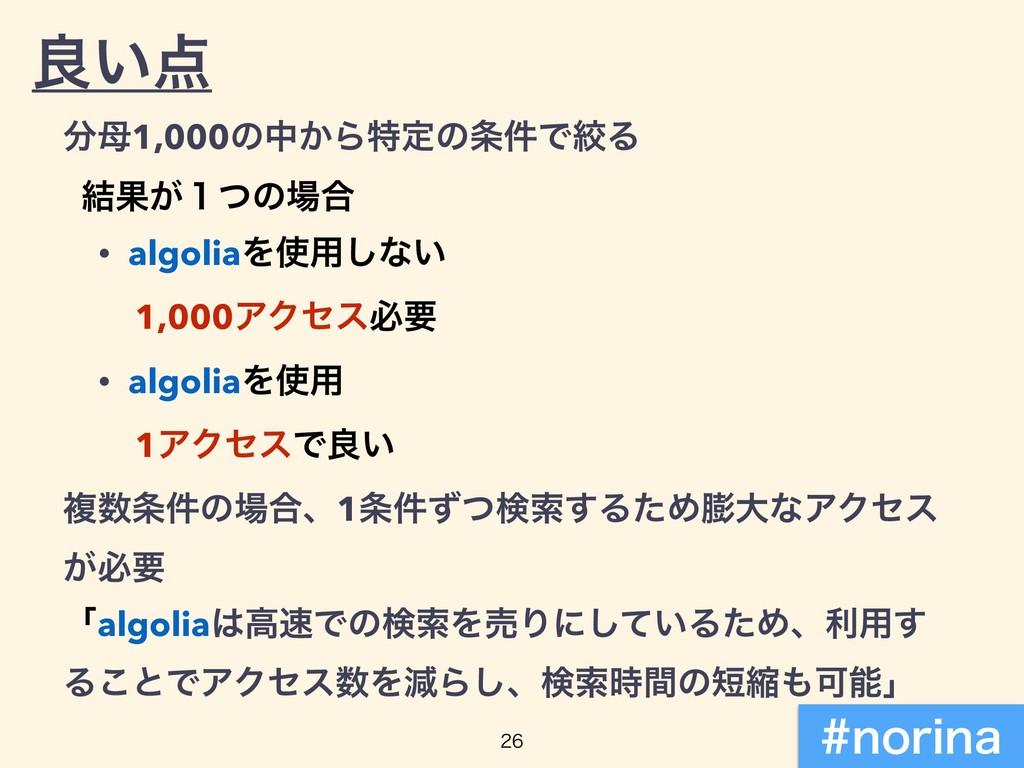 ྑ͍ 1,000ͷத͔Βಛఆͷ݅ͰߜΔ ݁Ռ͕̍ͭͷ߹ • algoliaΛ༻͠ͳ...