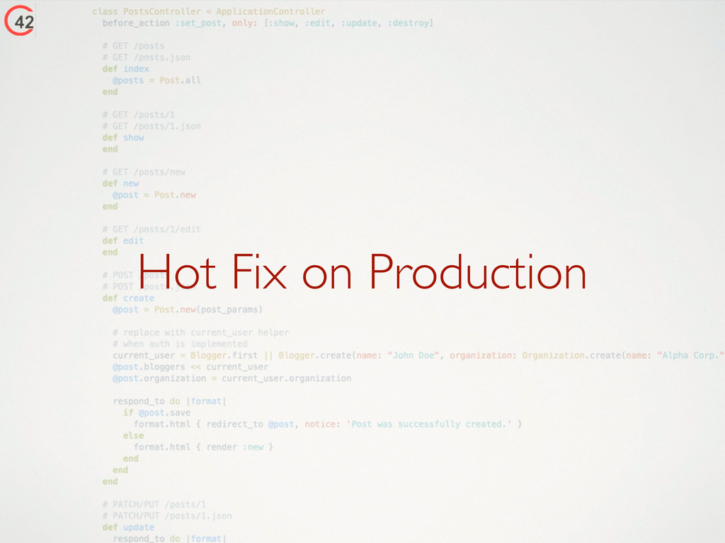 Hot Fix on Production