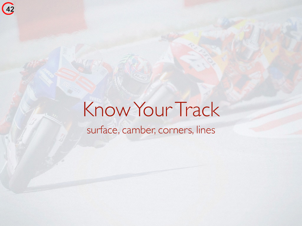 Know Your Track surface, camber, corners, lines