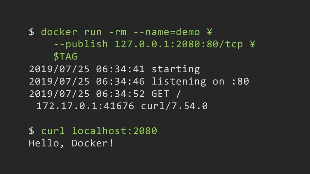 $ docker run -rm --name=demo ¥ --publish 127.0....