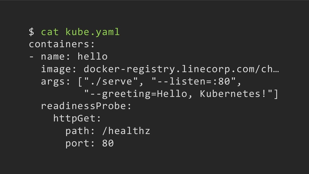 $ cat kube.yaml containers: - name: hello image...