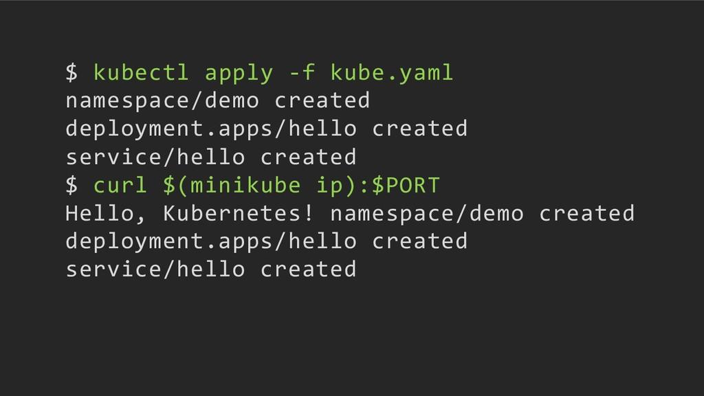 $ kubectl apply -f kube.yaml namespace/demo cre...