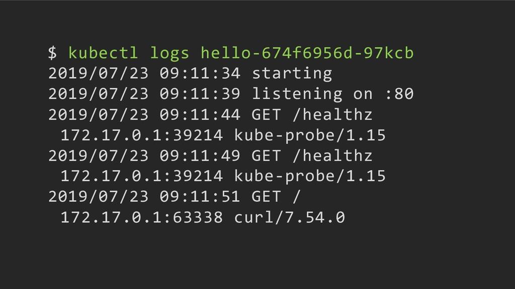 $ kubectl logs hello-674f6956d-97kcb 2019/07/23...