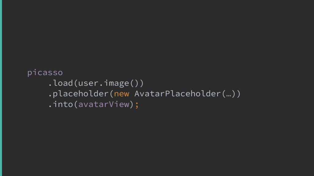 picasso .load(user.image()) .placeholder(new Av...
