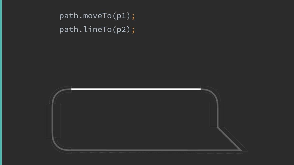 path.moveTo(p1); path.lineTo(p2);