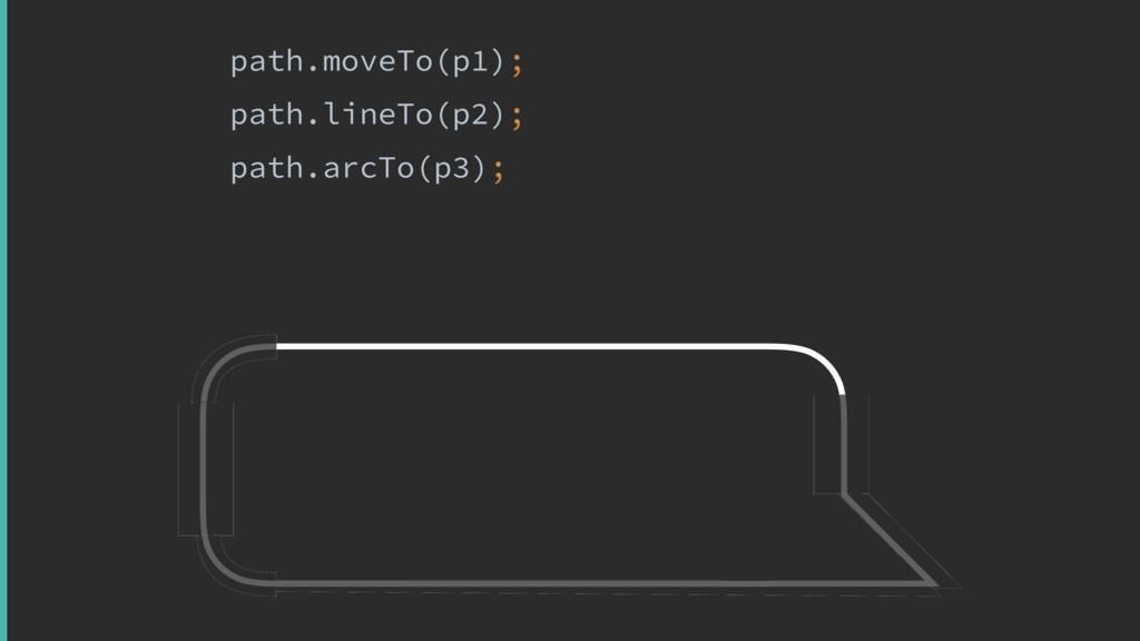 path.moveTo(p1); path.lineTo(p2); path.arcTo(p3...
