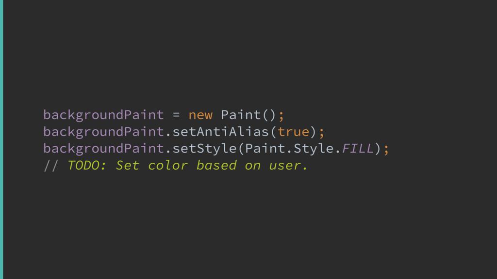 backgroundPaint = new Paint(); backgroundPaint...