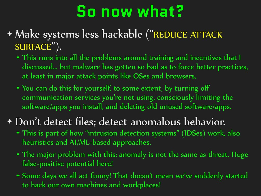 """So now what? ✦ Make systems less hackable (""""RED..."""