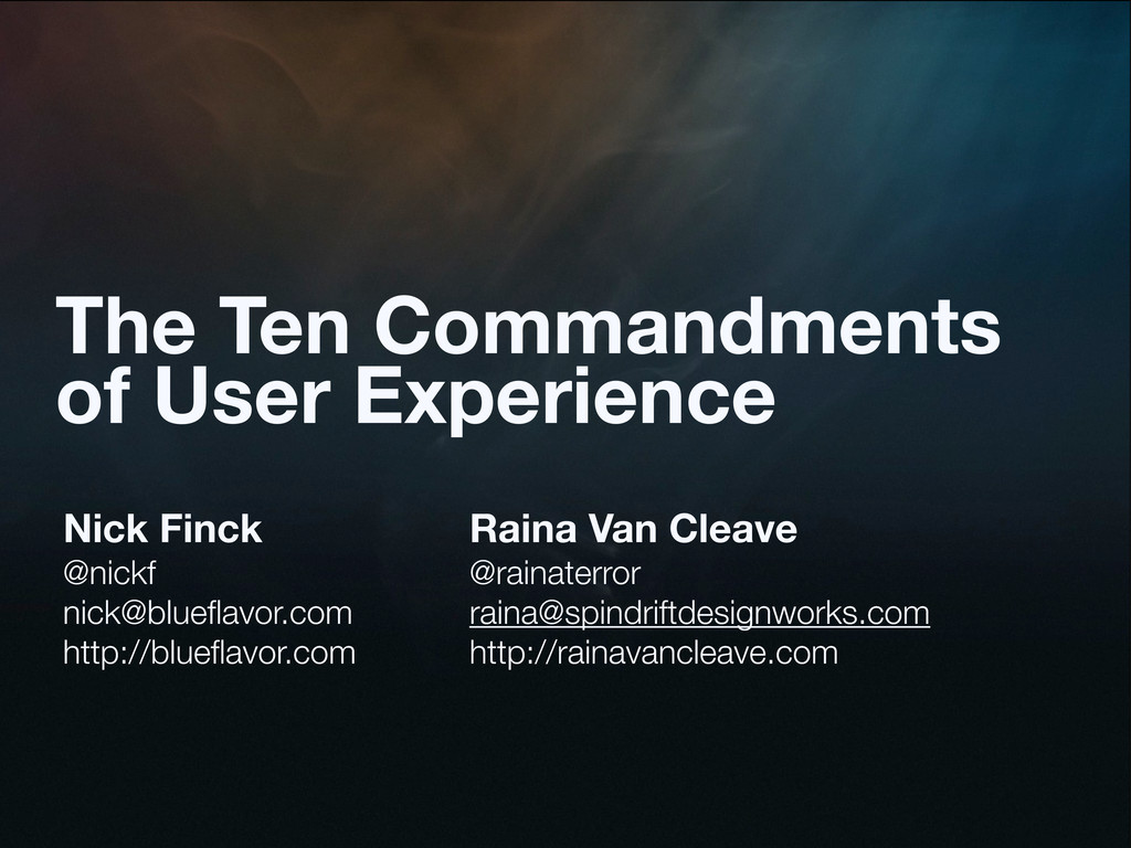 The Ten Commandments of User Experience Nick Fi...
