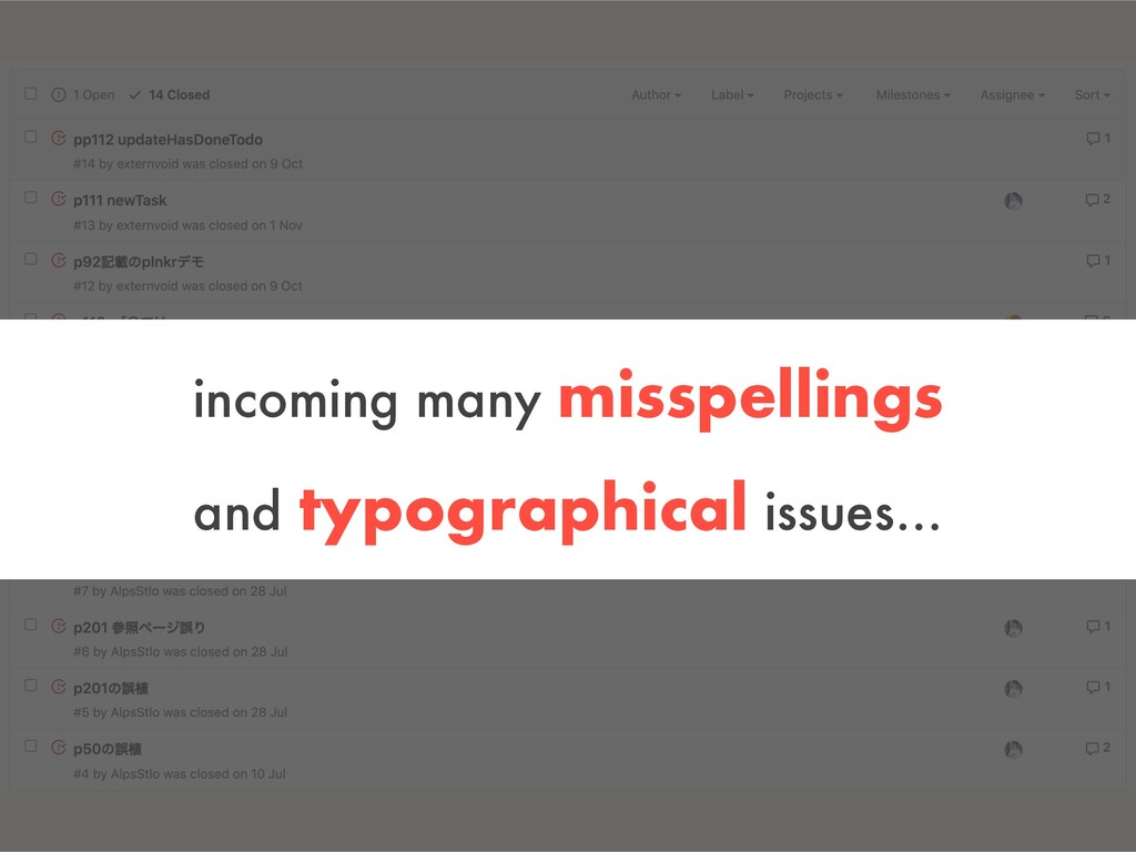 incoming many misspellings and typographical is...