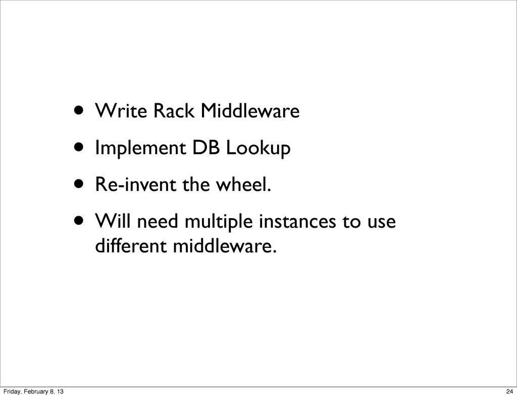 • Write Rack Middleware • Implement DB Lookup •...