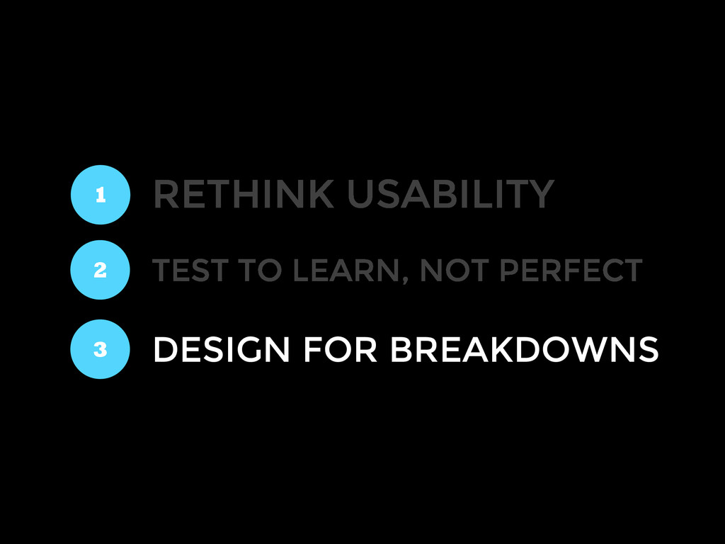 RETHINK USABILITY 1 2 3 TEST TO LEARN, NOT PERF...