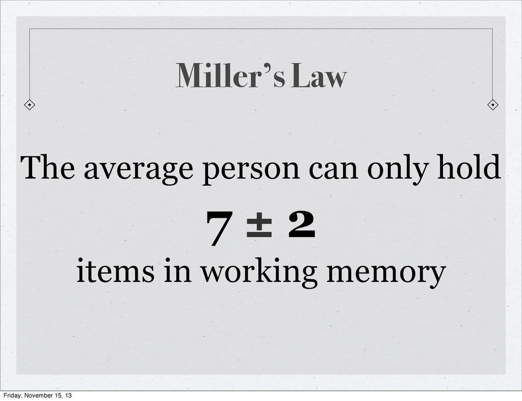Miller's Law The average person can only hold 7...