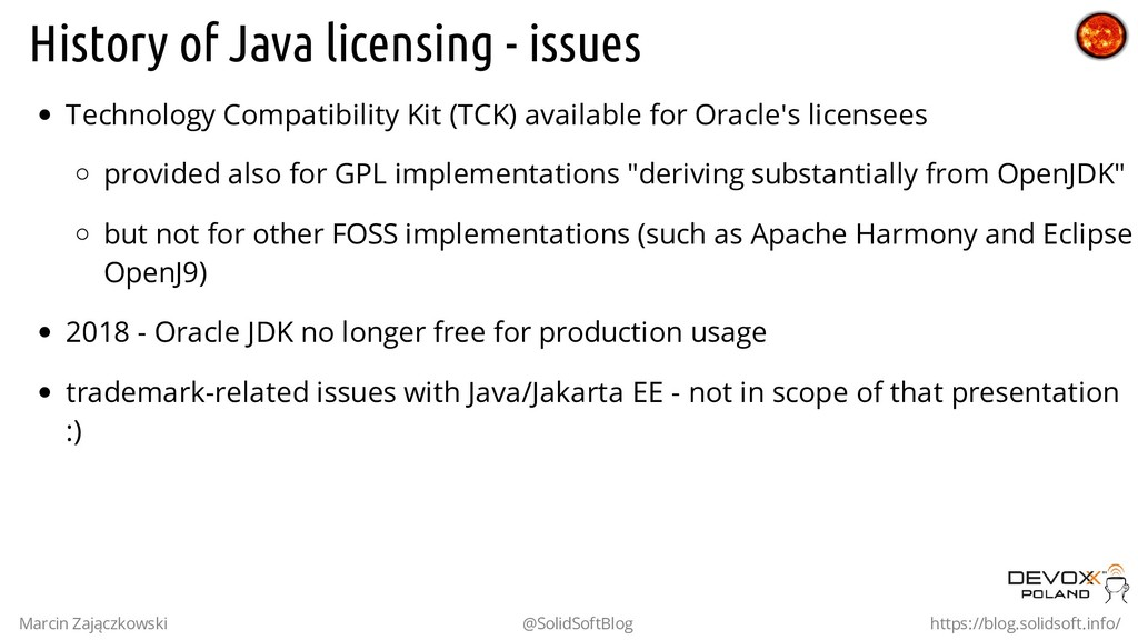 History of Java licensing - issues Technology C...