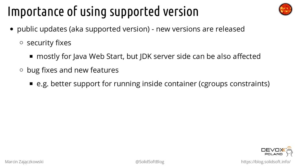 Importance of using supported version public up...