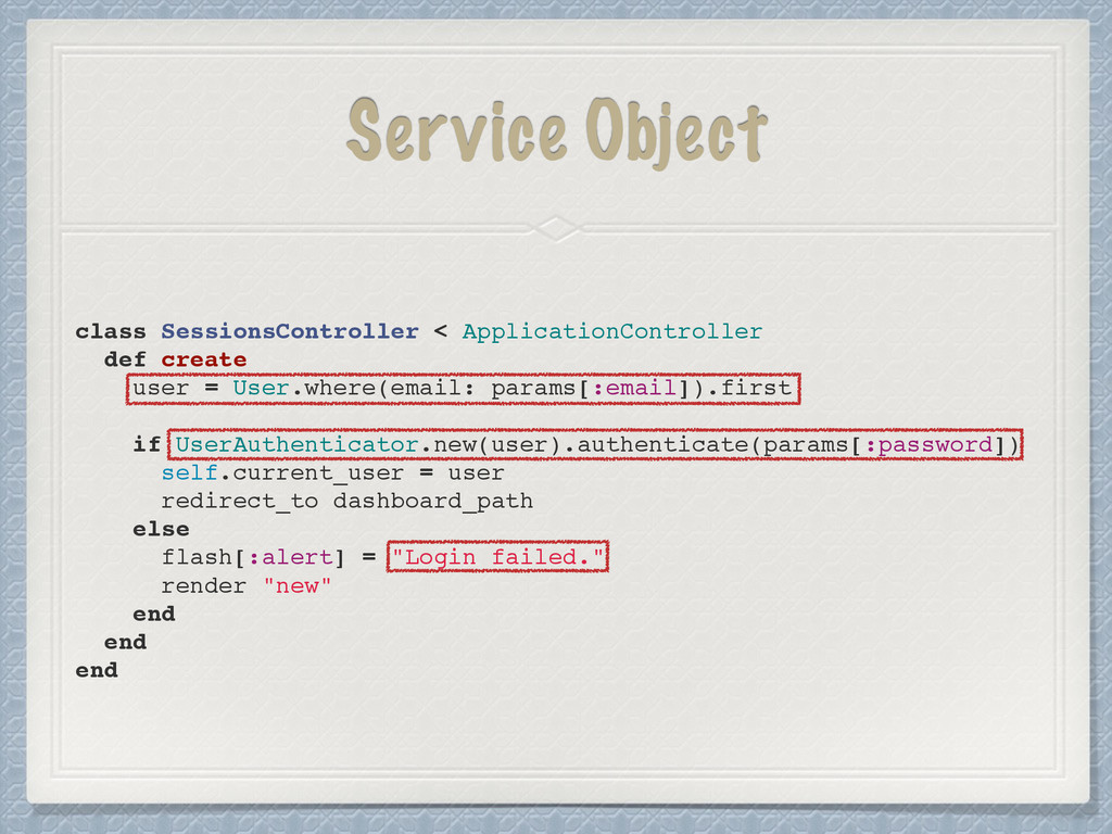 Service Object class SessionsController < Appli...