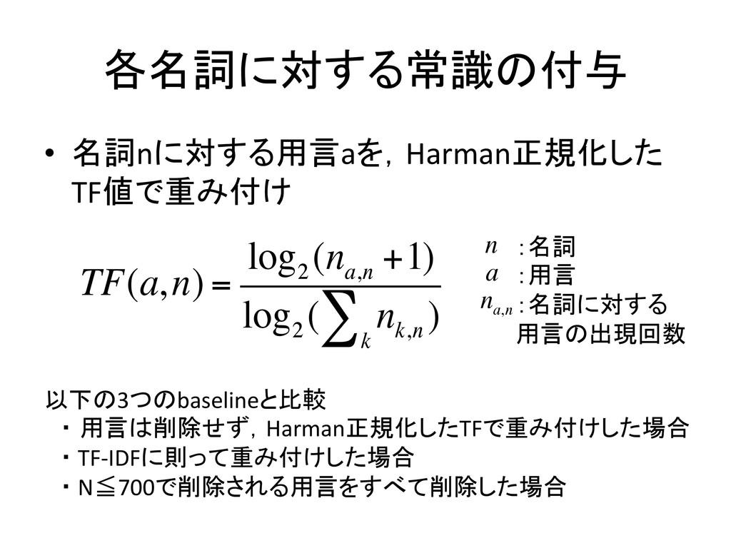 各名詞に対する常識の付与 • 名詞nに対する用言aを,Harman正規化した TF値で重...