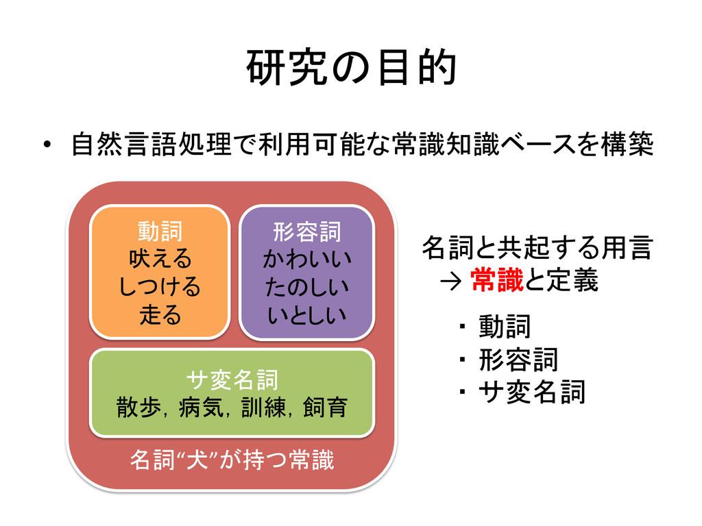 研究の目的 • 自然言語処理で利用可能な常識知識ベースを構築 名詞と共起する用言...