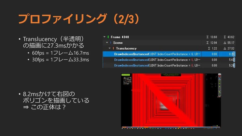 プロファイリング(2/3) • Translucency(半透明) の描画に27.3msかかる...