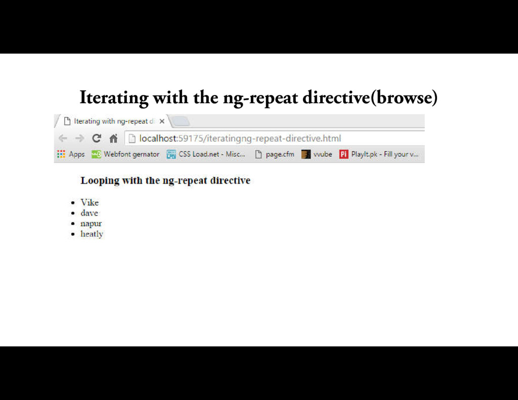 Iterating with the ng-repeat directive(browse)