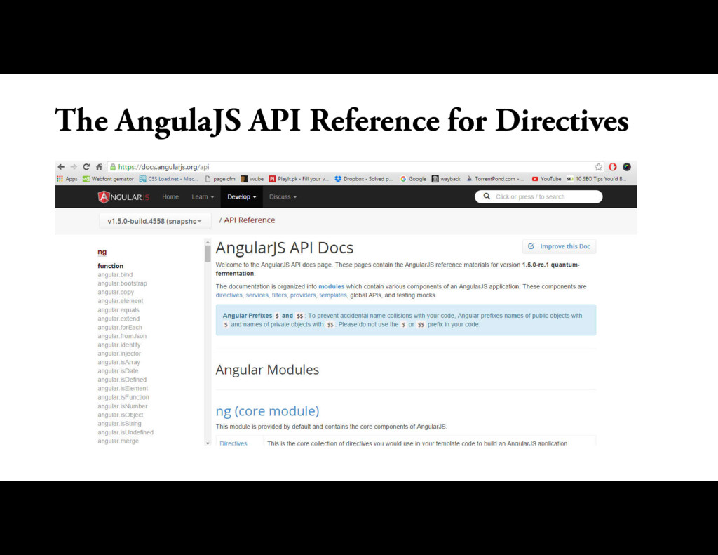 The AngulaJS API Reference for Directives