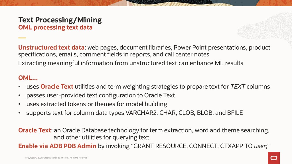 Unstructured text data: web pages, document lib...